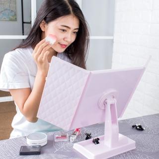 45X23CM大尺寸可旋轉 經典菱格紋 桌上化妝鏡 桌上鏡 立鏡 三面摺疊鏡 放大鏡 鏡子