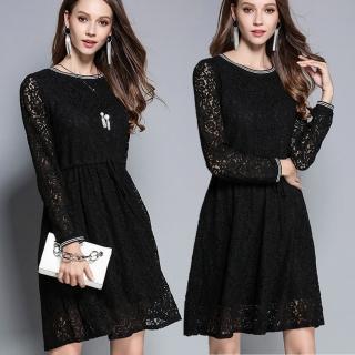 【麗質達人】2760蕾絲腰綁帶洋裝(M-5XL)