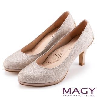 【MAGY】夢幻新娘鞋款 特殊造型五金鑽飾高跟鞋(粉膚)