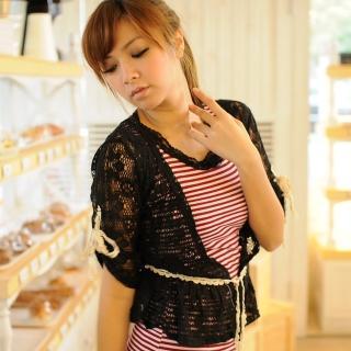【Lady c.c.】秀織漾花氣質開襟袖束罩衫(黑)