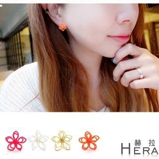 【HERA 赫拉】赫拉 線條編織雛菊無耳洞夾式耳環(4色)
