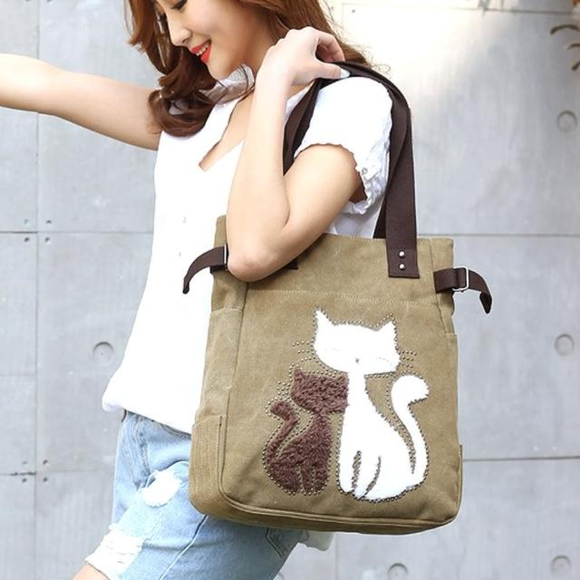 【Acorn*橡果】韓風甜蜜貓咪率性帆布側背包6561(卡其)