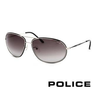 【POLICE】金屬大框面時尚必備飛行員太陽眼鏡(銀色 POS8637-0K07 12HR)