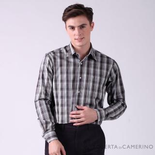 【ROBERTA 諾貝達】台灣製 方格品味 純棉百搭長袖襯衫(深灰)