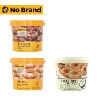 【韓國 No Brand】桶裝餅乾400g(奶油.巧克力豆.椰子)
