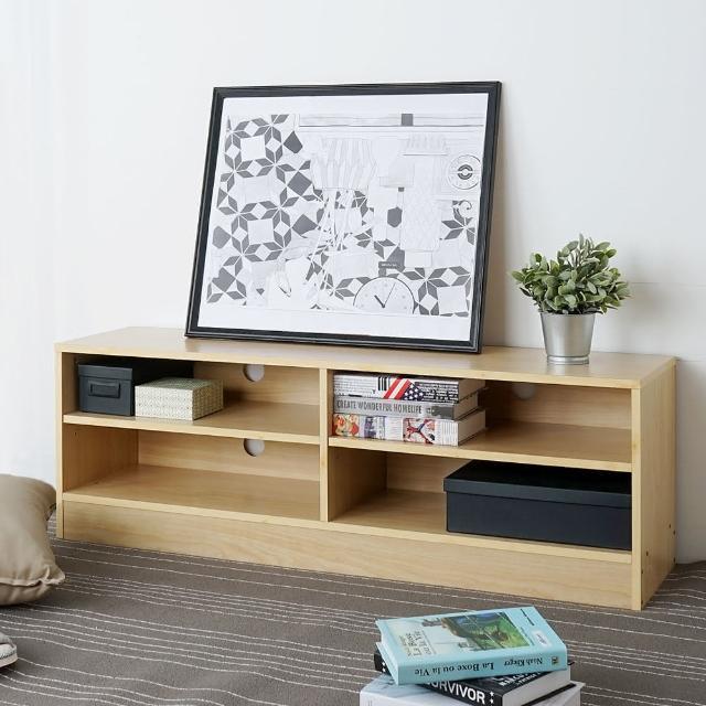 【Homelike】清新森林四格電視櫃(兩色可選)