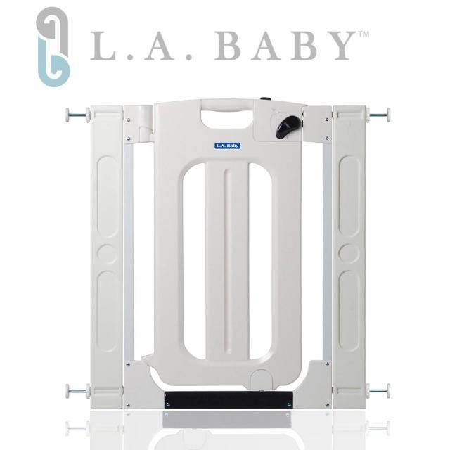 【L.A. Baby】雙向自動上鎖安全門欄/圍欄/柵欄純白/米黃色(贈兩片延伸件/純白色)