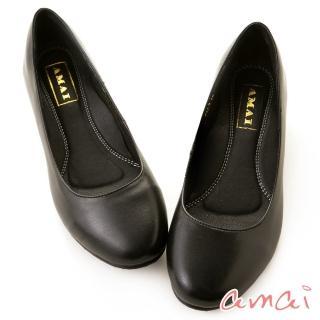 【amai】職場工作鞋。真羊皮柔軟夾心寬圓頭低跟鞋(黑)