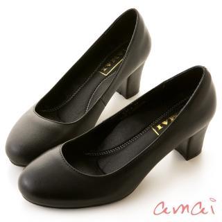 【amai】職場工作鞋。真羊皮柔軟夾心圓頭中跟鞋(黑)