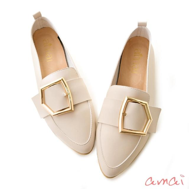【amai】五角方釦鏡面跟尖頭樂福鞋(杏)/