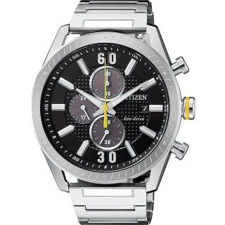 【CITIZEN 星辰】光動能渦輪時尚計時手錶-黑x銀/43mm(CA0666-82E)