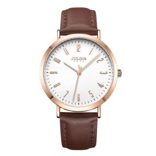 【JULIUS】最初計時數字刻度皮錶帶腕錶(五色/37.5mm)