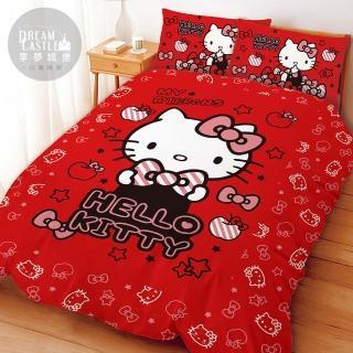 【享夢城堡】單人床包薄被套三件式組(HELLO KITTY 貼心小物-紅)