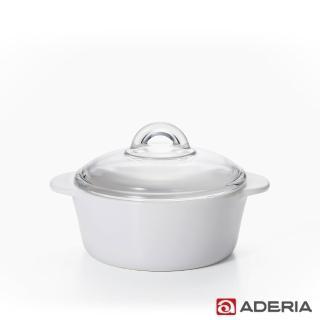 【ADERIA】日本進口陶瓷塗層耐熱玻璃調理鍋1.2L(2色)