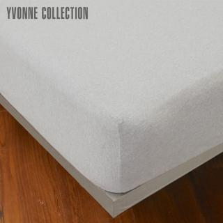 【Yvonne Collection】加大素面純棉床包(淺灰)