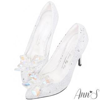 【Ann'S】冰雪奇緣-質感立體冰鑽尖頭高跟婚鞋(銀白)