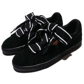 【PUMA】Suede Heart Satin II 女鞋 休閒鞋 低筒 復古 蝴蝶結 緞帶鞋 女 黑 白(36408401)