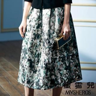 【mysheros 蜜雪兒】暈染花朵美型長裙(綠)