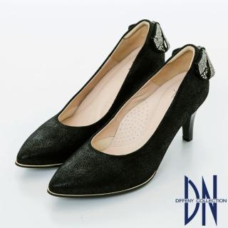 【DN】浪漫甜心 優雅蝴蝶結鑽飾尖頭跟鞋(黑)