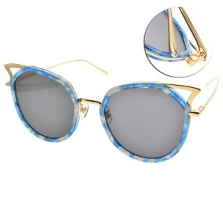 【Stephane+Christian 太陽眼鏡】韓系潮流造型貓眼款眼鏡(藍琥珀-金#PATAGON T55)