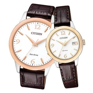 【CITIZEN 星辰】指針情侶對錶 小牛皮錶帶 白 光動能 防水(BM7304-16A+EW2234-12A)