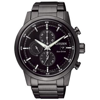 【CITIZEN 星辰】Eco-Drive光動能 簡約時尚三眼計時腕錶-黑/ 43mm(CA0615-59E)