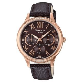 【CASIO 卡西歐】SHEEN 雅典娜三眼三針皮帶錶-咖啡X玫瑰金(SHE-3058PGL-5A)