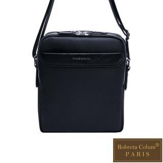 【Roberta Colum】現代雅痞休閒配真皮雙層側背包-直-共2色