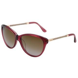 【TOD'S】時尚貓眼 編織腳 太陽眼鏡(紫紅色)