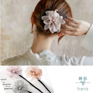 【HERA 赫拉】娟紗珍珠花朵花苞頭/丸子頭盤髮髮棒(3色)
