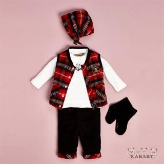 【Kinloch Anderson 金安德森】秋冬新生兒禮盒-三件式格子背心套裝(共二色)