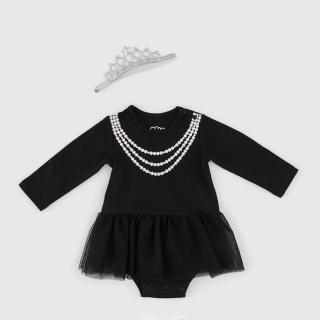 【日安朵朵】女嬰雪紡蓬蓬裙連身衣 –MIT台灣製奧黛莉赫本 長袖(嬰兒女寶寶包屁衣蓬蓬裙澎裙)