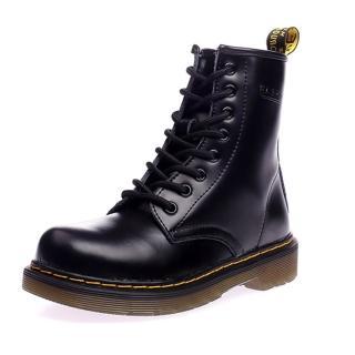 【Ocleather】個性女伶全真牛皮手工馬丁靴(經典黑)