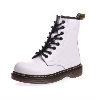 【Ocleather】個性女伶全真牛皮手工馬丁靴(經典白)