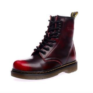 【Ocleather】個性女伶全真牛皮手工馬丁靴(仿舊紅)