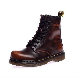 【Ocleather】個性女伶全真牛皮手工馬丁靴(仿舊棕)
