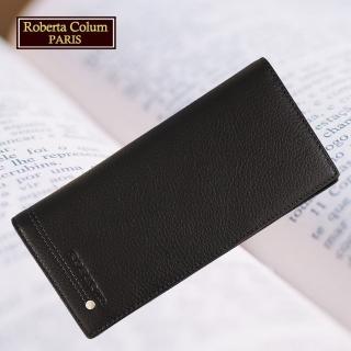 【Roberta Colum】諾貝達 軟牛皮鉚釘長夾 專櫃皮夾(23158-1黑色)