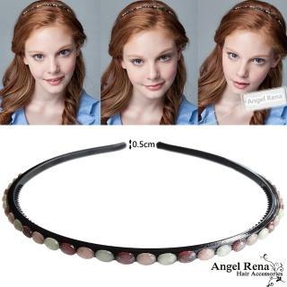 【Angel Rena】琍亞寶石造型髮箍(細版˙灰紅杏多色系)
