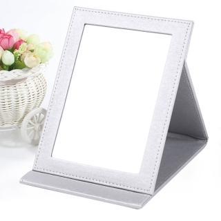 【幸福揚邑】7吋絲光銀皮革折疊鏡/隨身彩妝化妝桌鏡立鏡(絲光銀)