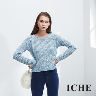 【ICHE 衣哲】簡約時尚百搭短版混色造型粗針織上衣-兩色-藍