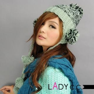 【Lady c.c.】躍動毛球雙織甜氣造型毛帽(灰)