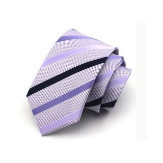 【拉福】淡紫斜領帶7.5cm中寬版領帶手打領帶(紫)