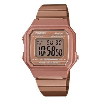 【CASIO 卡西歐】電子錶 女錶 中性錶 不鏽鋼錶帶 玫瑰金 防水 全自動日曆(B650WC-5A)