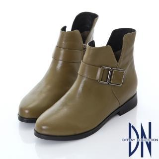 【DN】都會美型 側V質感飾扣牛皮短靴(卡其)