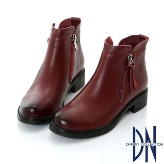 【DN】紐約街頭 復古擦色流蘇造型短靴(酒紅)