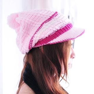 【Lady c.c.】俏皮甜心半月雙色針織毛帽(粉)