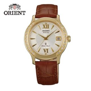 【ORIENT 東方錶】ELEGANT系列 優雅鑲鑽機械錶 皮帶款  金色 - 36mm(FER2E003W)