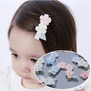 【UNICO】韓版 兒童超萌雙珍珠花朵髮夾(二入組)