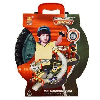 【GCT玩具嚴選】手提環形賽車場(模型車 停車場 手提輪胎 手動DIY組合 免電池 益智玩具)