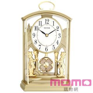 【RHYTHM 麗聲】(情人節精選)宮廷幸運草經典裝飾靜音座鐘(奢華素金)